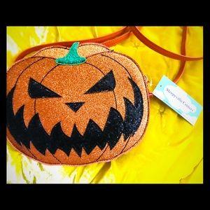 Sleepyville Critters glitter pumpkin crossbody bag